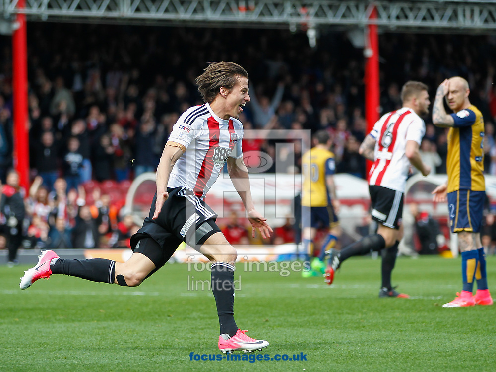 Lasse Vibe of Brentford celebrates scoring the second goal during the Sky Bet Championship match between Brentford and Bristol City at Griffin Park, London<br /> Picture by Mark D Fuller/Focus Images Ltd +44 7774 216216<br /> 01/04/2017