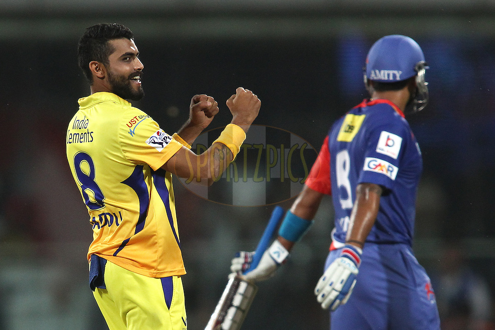 Ravindra Jadeja of The Chennai Super Kings celebrates  getting Murali Vijay of the Delhi Daredevils wicket during match 26 of the Pepsi Indian Premier League Season 2014 between the Delhi Daredevils and the Chennai Super Kings held at the Feroze Shah Kotla cricket stadium, Delhi, India on the 5th May  2014<br /> <br /> Photo by Shaun Roy / IPL / SPORTZPICS<br /> <br /> <br /> <br /> Image use subject to terms and conditions which can be found here:  http://sportzpics.photoshelter.com/gallery/Pepsi-IPL-Image-terms-and-conditions/G00004VW1IVJ.gB0/C0000TScjhBM6ikg