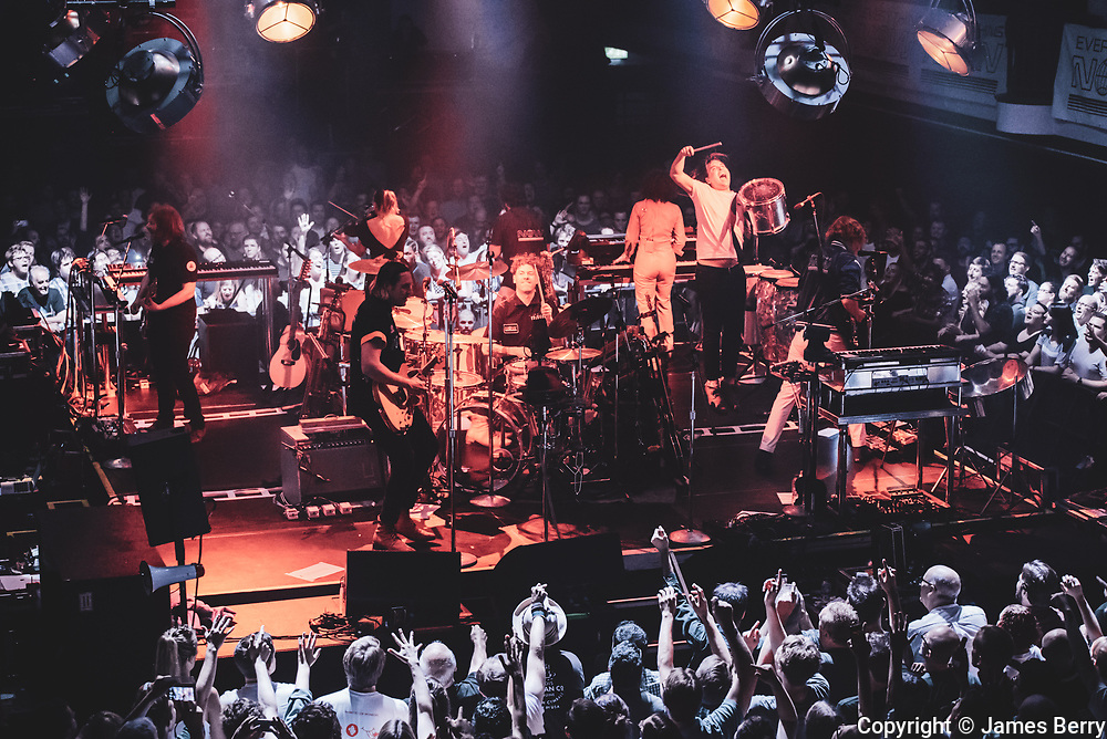Arcade Fire perform the first of two special shows to launch new album Evetrything Now live at York Hall, a boxing venue in Bethnal Green in East London, on Tueday 4 July 2017.