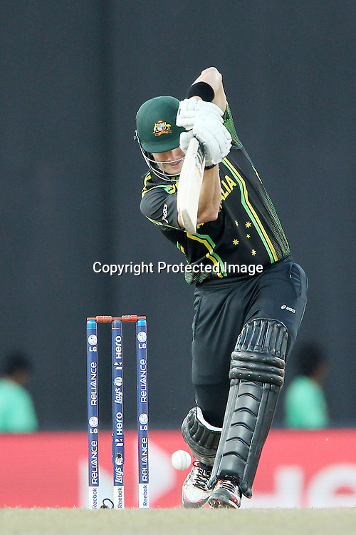 Shane Watson drives a delivery from Dale Steyn during the ICC World Twenty20 Super 8s match between Australia and South Africa held at the Premadasa Stadium in Colombo, Sri Lanka on the 30th September 2012<br /> <br /> Photo by Ron Gaunt/SPORTZPICS