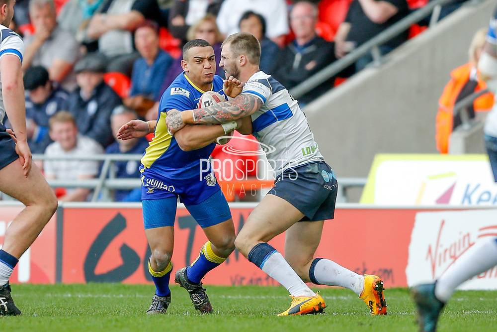 Doncaster RLFC winger Aaron Jones-Bishop (2) is stopped by Featherstone Rovers winger Luke Briscoe (5)  during the Challenge Cup 2018 match between Doncaster and Featherstone Rovers at the Keepmoat Stadium, Doncaster, England on 22 April 2018. Picture by Simon Davies.