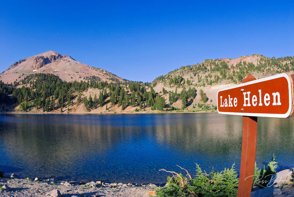 Lake Helen and sign under Lassen Peak, Lassen Volcanic National Park, California