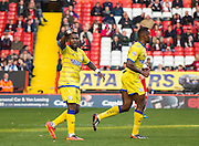 Royston Drenthe scores and celebrates during the Sky Bet Championship match between Charlton Athletic and Sheffield Wednesday at The Valley, London, England on 1 November 2014.