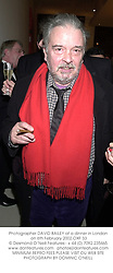 Photographer DAVID BAILEY at a dinner in London on 6th February 2002.<br />