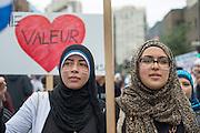 Montr&eacute;al, Canada, le 14 septembre 2013 des milliers de Qu&eacute;b&eacute;coisde communaut&eacute;s et de religions diff&eacute;rentes protestent contre l&rsquo;application de la Charte des valeurs qu&eacute;b&eacute;coises qui interdit aux employ&eacute;s de la fonction publique le port de signes religieux ostentatoires comme le hijab ou la Kippa.<br /> The 14th september 2013, in Montr&eacute;al Canada,  in the first mass action triggered by the proposal, thousands of protesters marched through downtown Montreal to call on the Parti Qu&eacute;b&eacute;cois government of Premier Pauline Marois to withdraw the charter.
