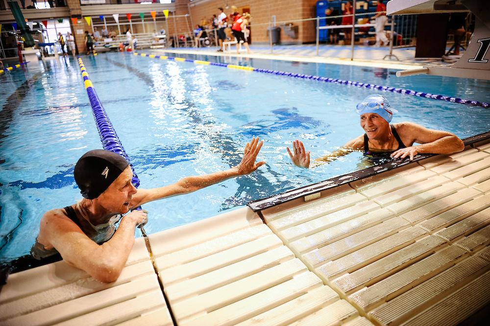 Texas State Senior Games swimming competition Saturday, March 24, 2012 in San Antonio. Photo©Bahram Mark Sobhani
