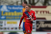 York City midfielder Danny Galbraith  during the Sky Bet League 2 match between Mansfield Town and York City at the One Call Stadium, Mansfield, England on 28 December 2015. Photo by Simon Davies.