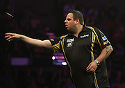 Adrian Lewis in the Adrian Lewis v Gary Anderson match   at the Betway Premier League Darts,  Brighton Centre, Brighton & Hove, United Kingdom on 14 May 2015. Photo by Phil Duncan.