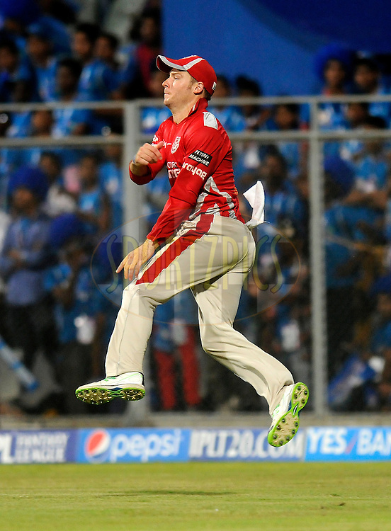 David Miller of the Kings X1 Punjab returns a ball during match 22 of the Pepsi Indian Premier League Season 2014 between the Mumbai Indians and the Kings XI Punjab held at the Wankhede Cricket Stadium, Mumbai, India on the 3rd May  2014<br /> <br /> Photo by Pal Pillai / IPL / SPORTZPICS<br /> <br /> <br /> <br /> Image use subject to terms and conditions which can be found here:  http://sportzpics.photoshelter.com/gallery/Pepsi-IPL-Image-terms-and-conditions/G00004VW1IVJ.gB0/C0000TScjhBM6ikg