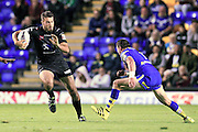 Jay Chapelhow runs the Warrington's defence during the Super League match between Warrington Wolves and Widnes Vikings at the Haliwell Jones Stadium, Warrington, United Kingdom on 9 September 2016. Photo by Craig Galloway.