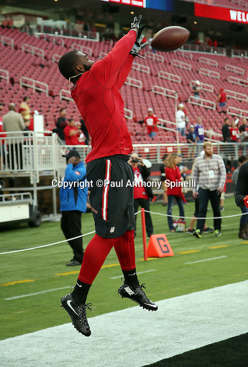 San Francisco 49ers rookie wide receiver DeAndrew White (18) leaps and catches a pregame pass while warming up before the 2015 NFL week 1 regular season football game against the Minnesota Vikings on Monday, Sept. 14, 2015 in Santa Clara, Calif. The 49ers won the game 20-3. (©Paul Anthony Spinelli)
