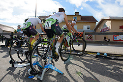 Cylance Pro Cycling warm up for the 42,5 km team time trial of the UCI Women's World Tour's 2016 Crescent Vårgårda Team Time Trial on August 19, 2016 in Vårgårda, Sweden. (Photo by Sean Robinson/Velofocus)