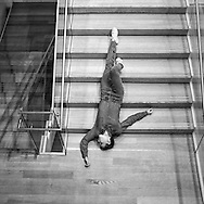 """Plastic"" by artist and choreographer Maria Hassabi,  a commissioned live installation in which dancers perform throughout MoMA  moving between poses at a barely perceptible pace across the Museum's floors and down its staircases."