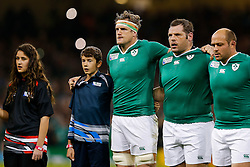 Ireland Number 8 Jamie Heaslip (capt) (L)  gets psyched up during the national anthems - Mandatory byline: Rogan Thomson/JMP - 07966 386802 - 18/10/2015 - RUGBY UNION - Millennium Stadium - Cardiff, Wales - Ireland v Argentina - Rugby World Cup 2015 Quarter Finals.