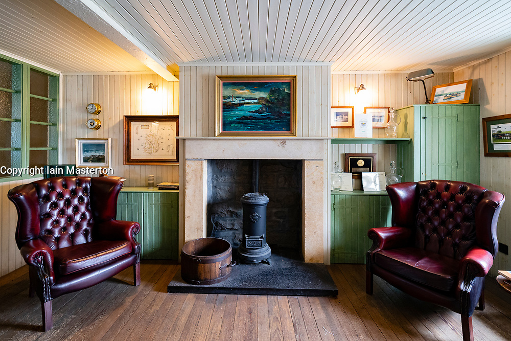 View of visitor centre interior at Lagavulin Distillery on island of Islay in Inner Hebrides of Scotland, UK