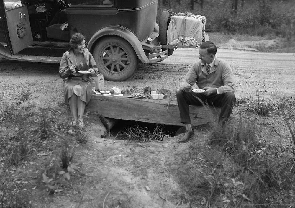 Mr. and Mrs. Charles Holmes, Picnicking, Australia, 1930