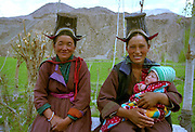 Grandmother, Mother and child - traditional costume - Ladakh Himalayas - 2006