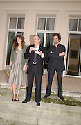 Lou Doillon, Jean Rochefort,  and Romain Duris,  on the terrace of the French Ambassador's house to launch Renault French Film tour, Kensington Palace Gdns, 5 March 2003. © Copyright Photograph by Dafydd Jones 66 Stockwell Park Rd. London SW9 0DA Tel 020 7733 0108 www.dafjones.com