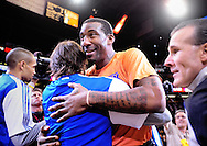 Jan. 7 2011; Phoenix, AZ, USA; New York Knicks forward Amar'e Stoudemire and Phoenix Suns guard Steve Nash during opening ceremonies at the US Airways Center. The Knicks defeated the Suns 121-96. Mandatory Credit: Jennifer Stewart-US PRESSWIRE.