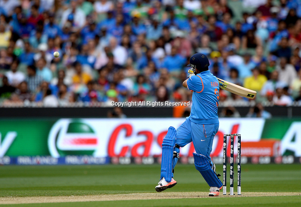 Suresh Raina (Ind)<br /> India vs Bangladesh / Qtr Final 2<br /> 2015 ICC Cricket World Cup<br /> MCG / Melbourne Cricket Ground <br /> Melbourne Victoria Australia<br /> Thursday 19 March 2015<br /> &copy; Sport the library / Jeff Crow