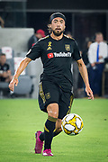 LAFC midfielder Lee Nguyen (24) kicks the ball during an MLS soccer match against the Minnesota United. Minnesota United defeated the LAFC 2-0 on Sunday Sept. 1 2019, in Los Angeles. (Ed Ruvalcaba/Image of Sport)