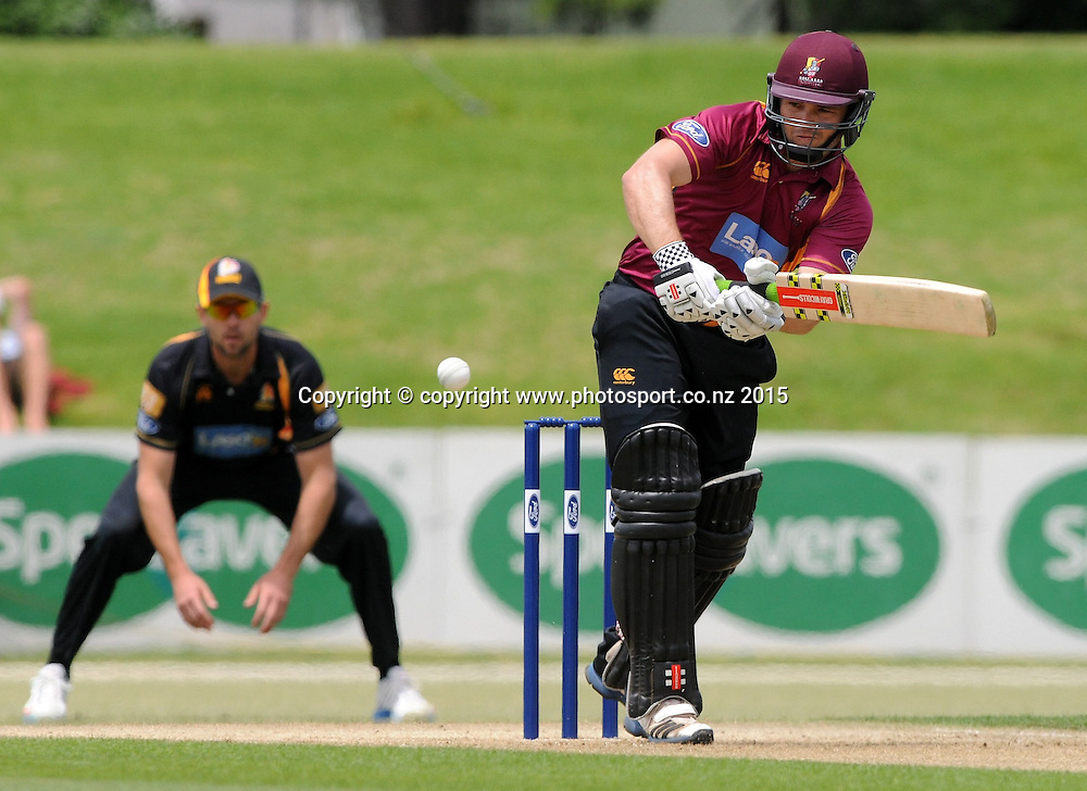 Northern Knight's Daniel Flynn plays a shot in the Ford Trophy One Day cricket match, Knights v Firebirds, Bay Oval, Mt Maunganui, Thursday, January 01, 2015. Photo: Kerry Marshall / photosport.co.nz