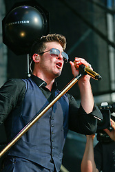 26 April 2014. New Orleans, Louisiana.<br /> Robin Thicke plays the New Orleans Jazz and Heritage Festival. <br /> Photo; Charlie Varley/varleypix.com
