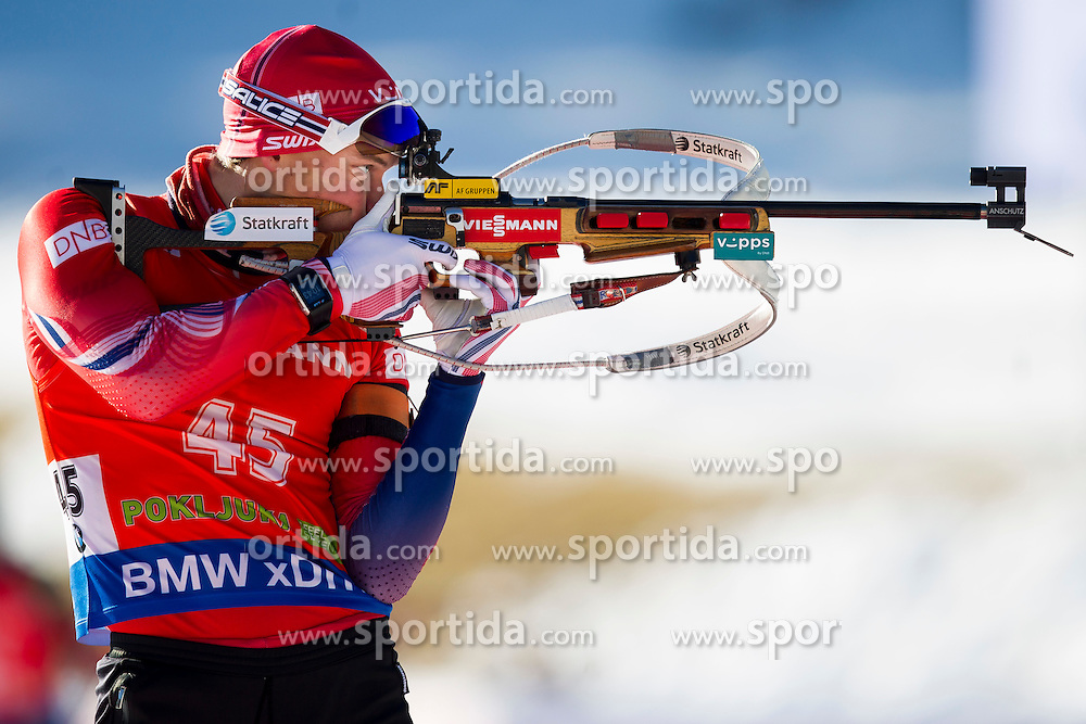 Henrik L'Abee-Lund (NOR) competes during Men 12,5 km Pursuit at day 3 of IBU Biathlon World Cup 2015/16 Pokljuka, on December 19, 2015 in Rudno polje, Pokljuka, Slovenia. Photo by Urban Urbanc / Sportida