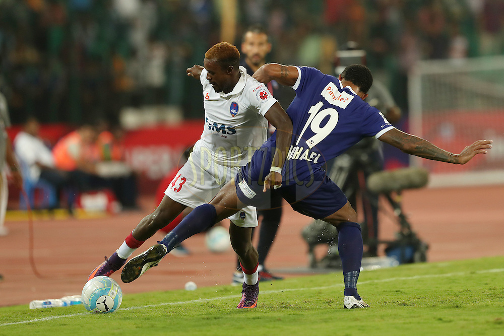 Richard Gadze of Delhi Dynamos FC  and Raphael Augusto of Chennaiyin FC  during match 6 of the Indian Super League (ISL) season 3 between Chennaiyin FC and Delhi Dynamos FC held at the Jawaharlal Nehru Stadium in Chennai, India on the 6th October 2016.<br /> <br /> Photo by Ron Gaunt / ISL/ SPORTZPICS