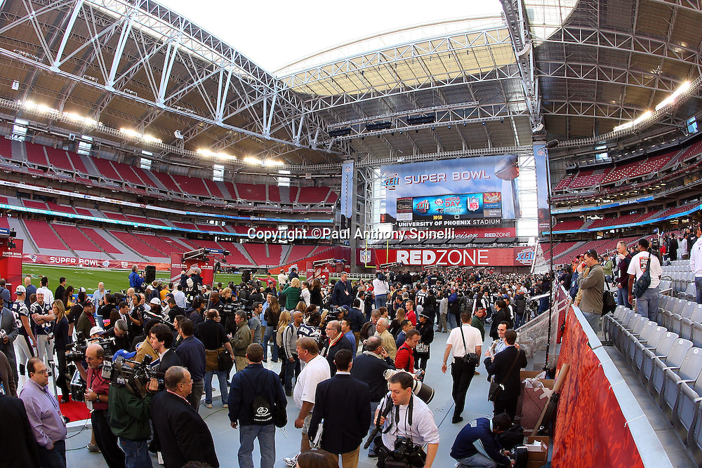 GLENDALE, AZ - JANUARY 29: General view of the stadium interior and scoreboard display with the New England Patriots at Super Bowl XLII Media Day at University of Phoenix Stadium on January 29, 2008 in Glendale, Arizona.©Paul Anthony Spinelli