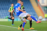 Matty Lund, Jacob Mellis lead up to penalty during the EFL Sky Bet League 1 match between Rochdale and Bury at Spotland, Rochdale, England on 15 October 2016. Photo by Daniel Youngs.