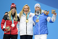 February 12, 2018 - Pyeongchang, South Korea - LAURIE BLOUIN of Canada , JAMIE ANDERSON of the Unites States and ENNI RUKAJARVI of Finland with their medals from the snowboard Ladies' Slopestyle event in the PyeongChang Olympic games. (Credit Image: © Christopher Levy via ZUMA Wire)