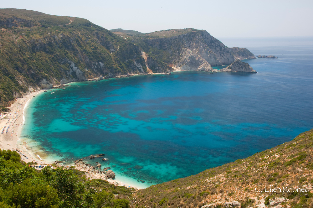 An aerial view ofPetani Beach on the Lixouri Peninsula, Kefalonia, The Ionian Islands, Greece