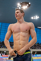 Ben Proud of Plymouth Leander celebrates winning the Mens 50m Freestyle Final - Photo mandatory by-line: Rogan Thomson/JMP - 07966 386802 - 16/04/2015 - SPORT - SWIMMING - The London Aquatics Centre, England - Day 4 - British Swimming Championships 2015.