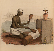 Beating cotton cloth with wooden mallets to give it greater strength: India.  Hand-coloured engraving published Rudolph Ackermann, London, 1822.