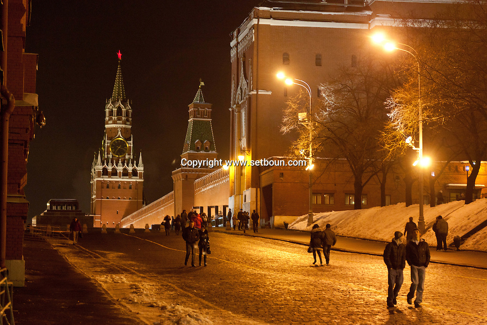 red square at night Moskow Russia /// la place rouge , la nuit, Moscou Russie