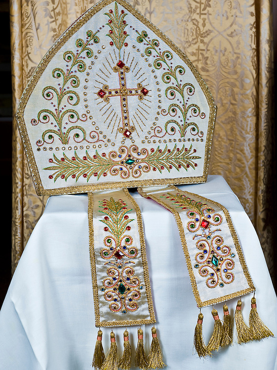 A mitre belonging to Bishop Aloysius Wycislo. This festive or precious mitre was worn at special liturgies. (Sam Lucero | The Compass)