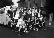 1980-08-15.15th August 1980.15/08/1980.08-15-80..Photographed outside Kilmainham Jail, Dublin...Members of the Roller All Star Hockey Club assemble before setting out on the non-stop roller skating marathon. Along the route from Dublin to Cork money will be raised in each town passed though. The proceeds will go to the Central Remedial Clinic. At Cork the city's Lord Mayor, Toddy O'Sullivan will meet and greet them. .