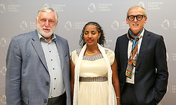 19.08.2015, Kongress, Alpbach, AUT, Forum Alpbach, Eröffnungspressekonfernferenz, im Bild v.l. Franz Fischler (Präsident des Europäischen Forums Alpbach), Eröffnungsrednerin Yetnebersh Nigussie (äthiopische Menschenrechtsaktivistin, Direktorin des Ethiopian Center for Disability and Development) und Paul Dujardin (Direktor BOZAR Brüssel) // during the opening press conference of European Forum Alpbach at the Congress in Alpach, Austria on 2015/08/19. EXPA Pictures © 2014, PhotoCredit: EXPA/ Jakob Gruber
