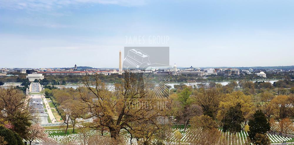 Washington DC panorama from Arlington Cemetery
