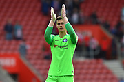 Kepa Arrizabalaga (1) of Chelsea applauds the away fans as he celebrates the 3-0 win over Southampton at full time during the Premier League match between Southampton and Chelsea at the St Mary's Stadium, Southampton, England on 7 October 2018.