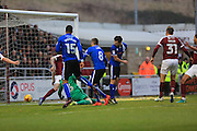 GOAL Matthew Lund (8) scores for Rochdale 1-1 during the EFL Sky Bet League 1 match between Northampton Town and Rochdale at Sixfields Stadium, Northampton, England on 17 December 2016. Photo by Daniel Youngs.