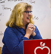 Ann Linsley is named a finalist for the 2016 HEB Excellence in Education Award at Bellaire High School, February 24, 2016.