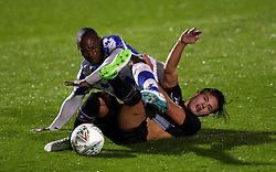 Aston Villa's Callum O'Hare (right) and Colchester United's Kyel Reid battle for the ball during the Carabao Cup, First Round match at the Weston Homes Community Stadium, Colchester.