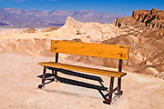 Manly Beacon and bench at Zabriskie Point, Death Valley National Park. California