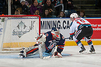 KELOWNA, CANADA - JANUARY 7: Dylan Ferguson #31 of the Kamloops Blazers makes a shoot out save against a shot by Dillon Dube #19 of the Kelowna Rockets on January 7, 2017 at Prospera Place in Kelowna, British Columbia, Canada.  (Photo by Marissa Baecker/Shoot the Breeze)  *** Local Caption ***