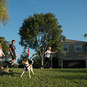 ROYAL PALM BEACH, FLORIDA, MARCH 15, 2017<br /> Cynthia Greaux  and her children; Tyler, 14, and Chloe, 8, walk their recently adopted dog &quot;Ginger&quot; to the dog park a short walk from their house. Greaux is able to use vouchers to pay for their enrollment at a private school that specializes in educating children with dyslexia.<br /> (Photo by Angel Valentin/Freelance)