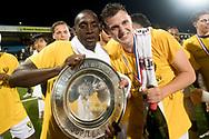 EINDHOVEN, FC Eindhoven - VVV Venlo, voetbal, Jupiler League, seizoen 2016-2017, 21-04-2017, Jan Louwers Stadion, VVV is kampioen van de Jupiler League, v19\ (L), VVV Venlo speler Clint Leemans (R)