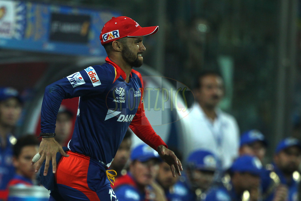 Jean-Paul Duminy captain of the Delhi Daredevils reacts during match 21 of the Pepsi IPL 2015 (Indian Premier League) between The Delhi Daredevils and The Mumbai Indians held at the Ferozeshah Kotla stadium in Delhi, India on the 23rd April 2015.<br /> <br /> Photo by:  Deepak Malik / SPORTZPICS / IPL