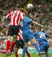 Photo: Aidan Ellis.<br /> Lincoln City v Rochdale. Coca Cola League 2. 06/05/2006.<br /> Lincoln's Gareth McAuley scores his teams only goal